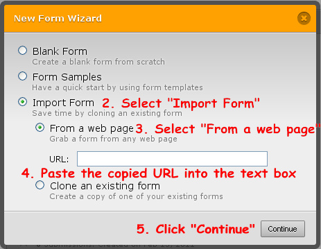 import form from web page