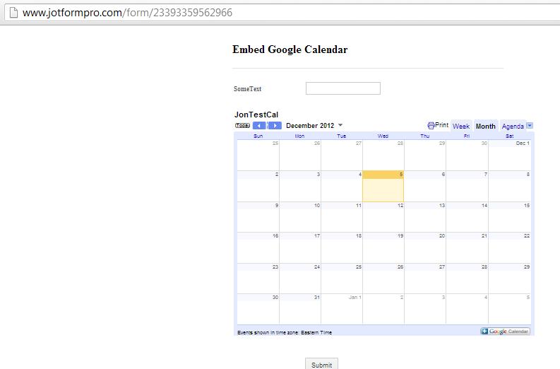 Embedding Google Calendar into form | JotForm