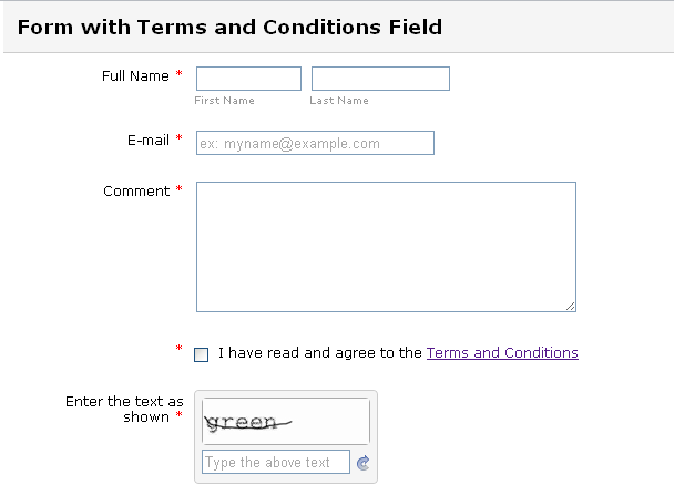 Terms and Conditions must be checked to reveal submit button