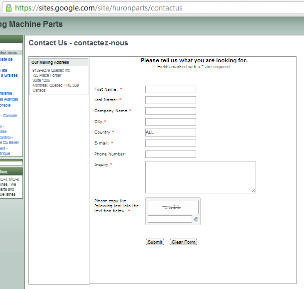 Form Used On Google Site Has The Word All In The Country Field