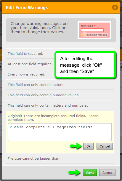 How to edit a form warning