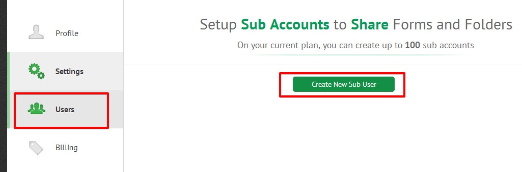 Create sub user