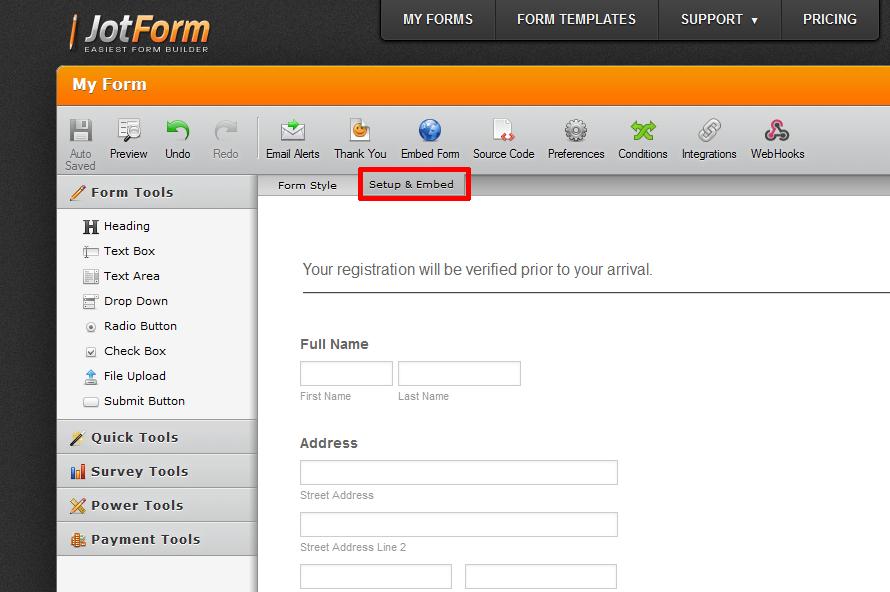To Get Embeded Code | JotForm
