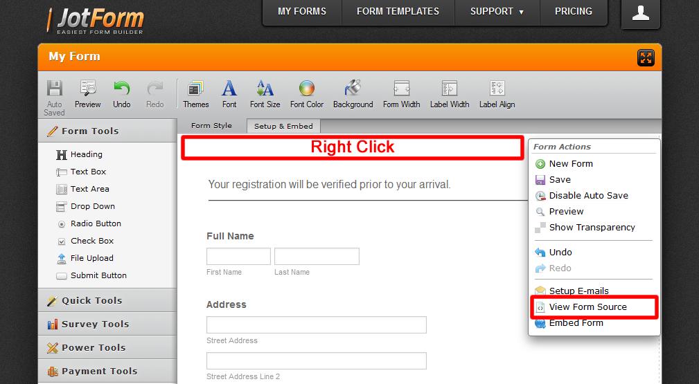 To Get Form Source Code | JotForm