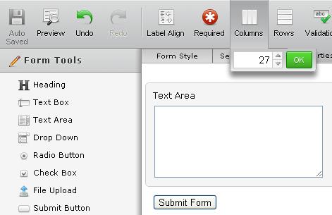 text area columns