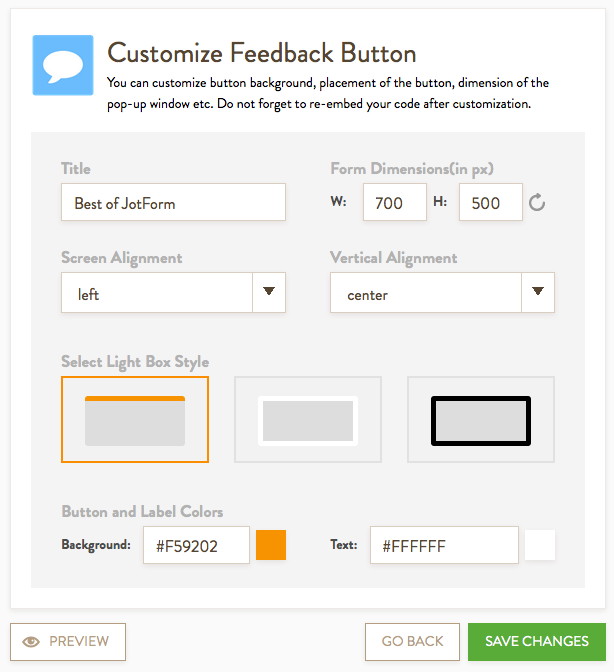 Feedback Custom options