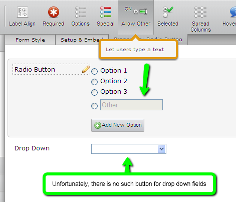 in the drop down box how do I create an Other option to