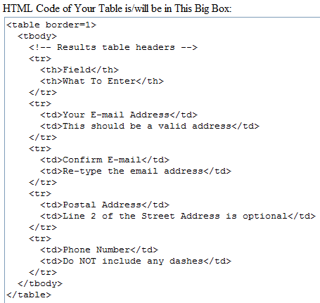 How can i make a table using the free text tool jotform - Html code for creating table ...