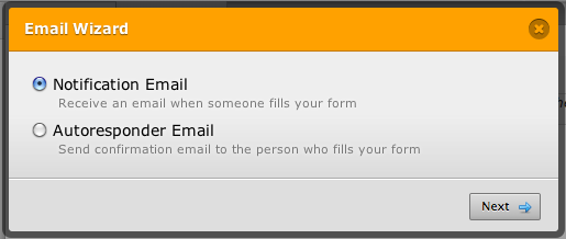 selecting the notification email