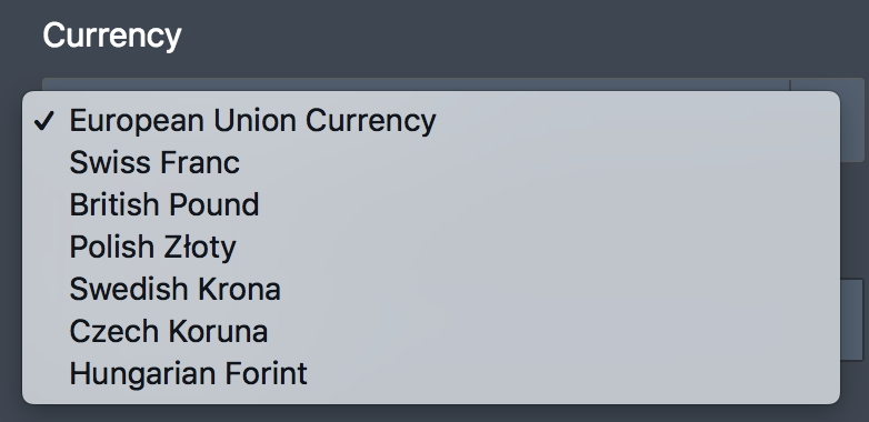 Currency Types