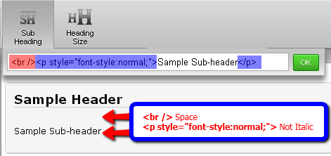 how to add sub-headings to jotform