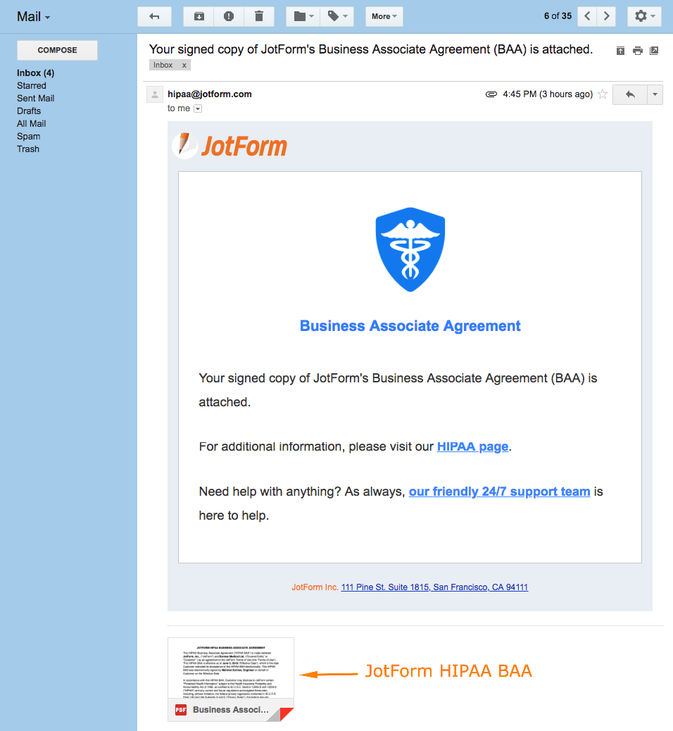 How to receive the BAA for my HIPAA account?