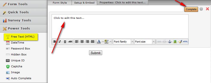 free form text box  Scrolling Text Box