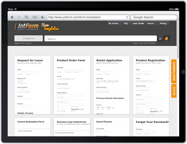 form templates on ipad