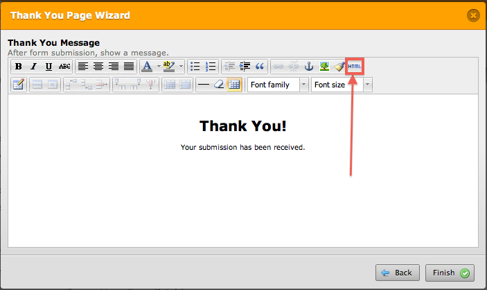 thank you message html source editor