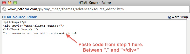 paste code from step 1 to html source editor