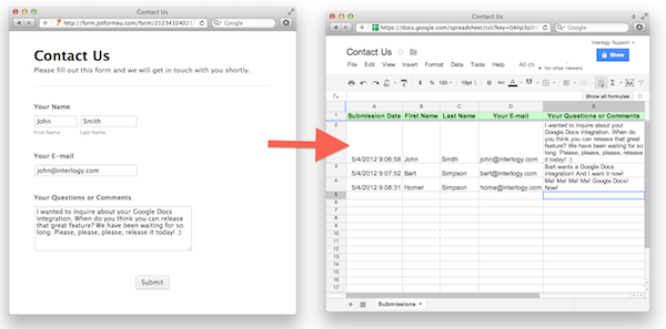 JotForm google docs integration
