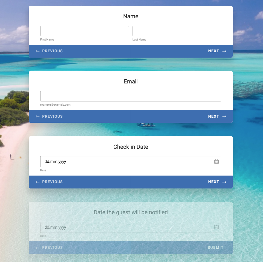 Sample Booking Form