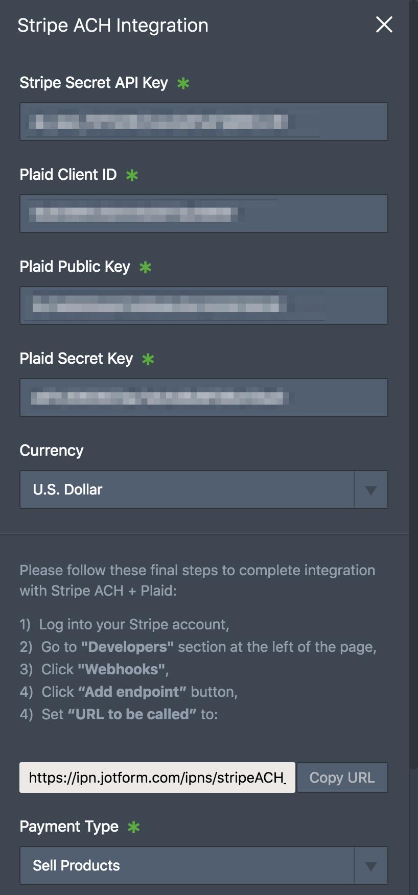Stripe ACH + Plaid Credentials