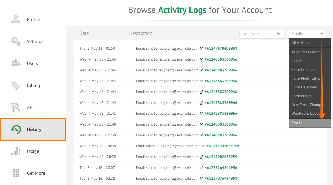 email history logs