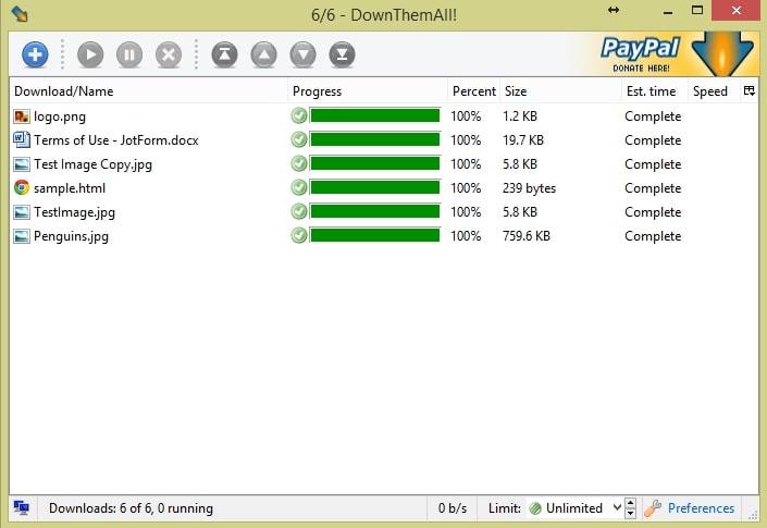 starting downthemall download process