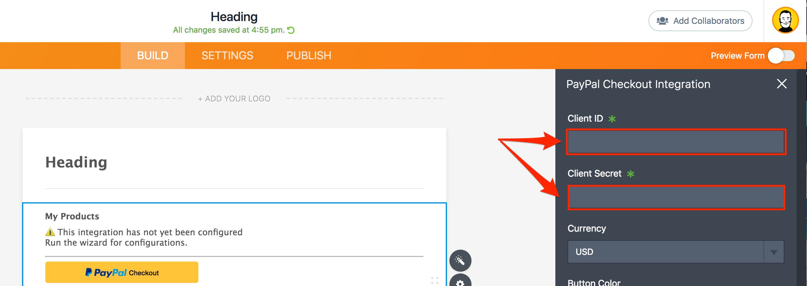 PayPal Checkout Wizard Client ID Client Secret