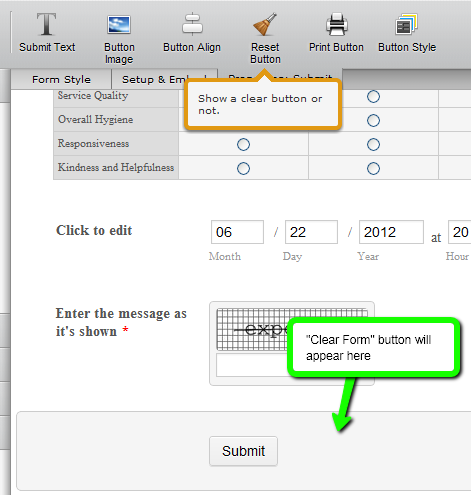 How do I add reset button next to Submit button? | JotForm
