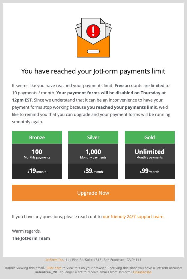 JotForm Payment Over-quota