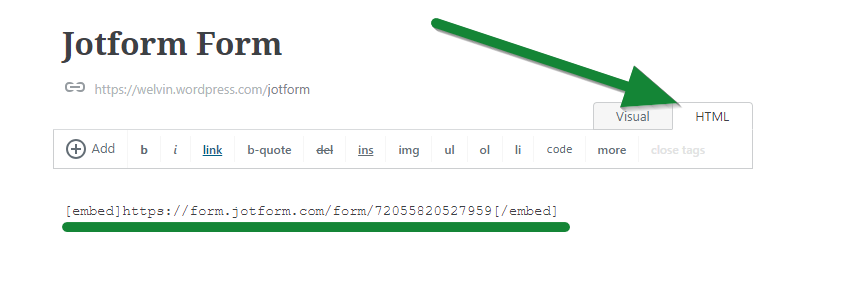Wordpress.com Classic Editor - Jotform
