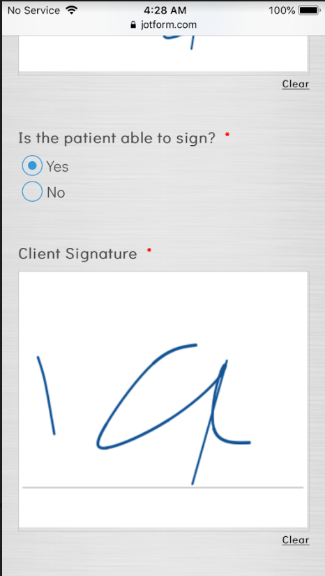 E-signature reduce in size when viewed in mobile