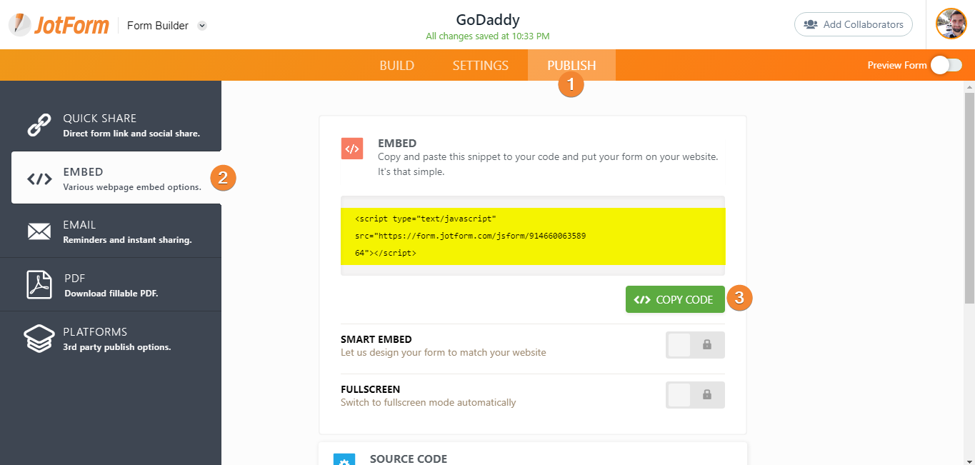 Adding a Form to GoDaddy