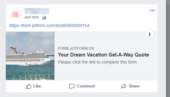 Form thumbnail when shared in Facebook