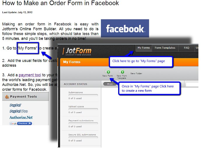 How can i create order form in my facebook page? | JotForm