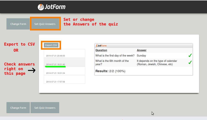 Export All Quiz Results