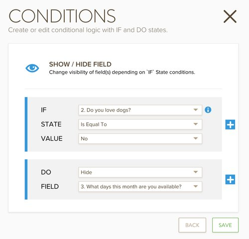 online form conditions