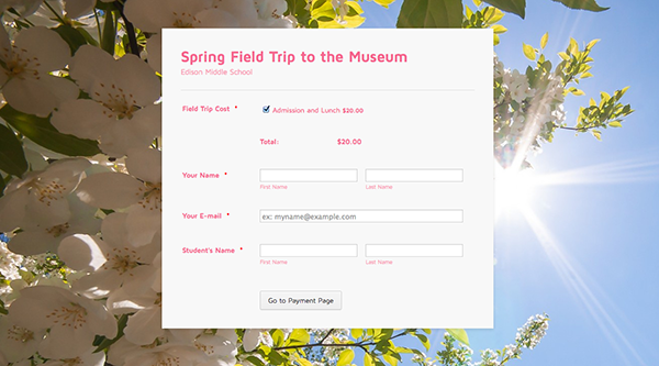 field trip payment form