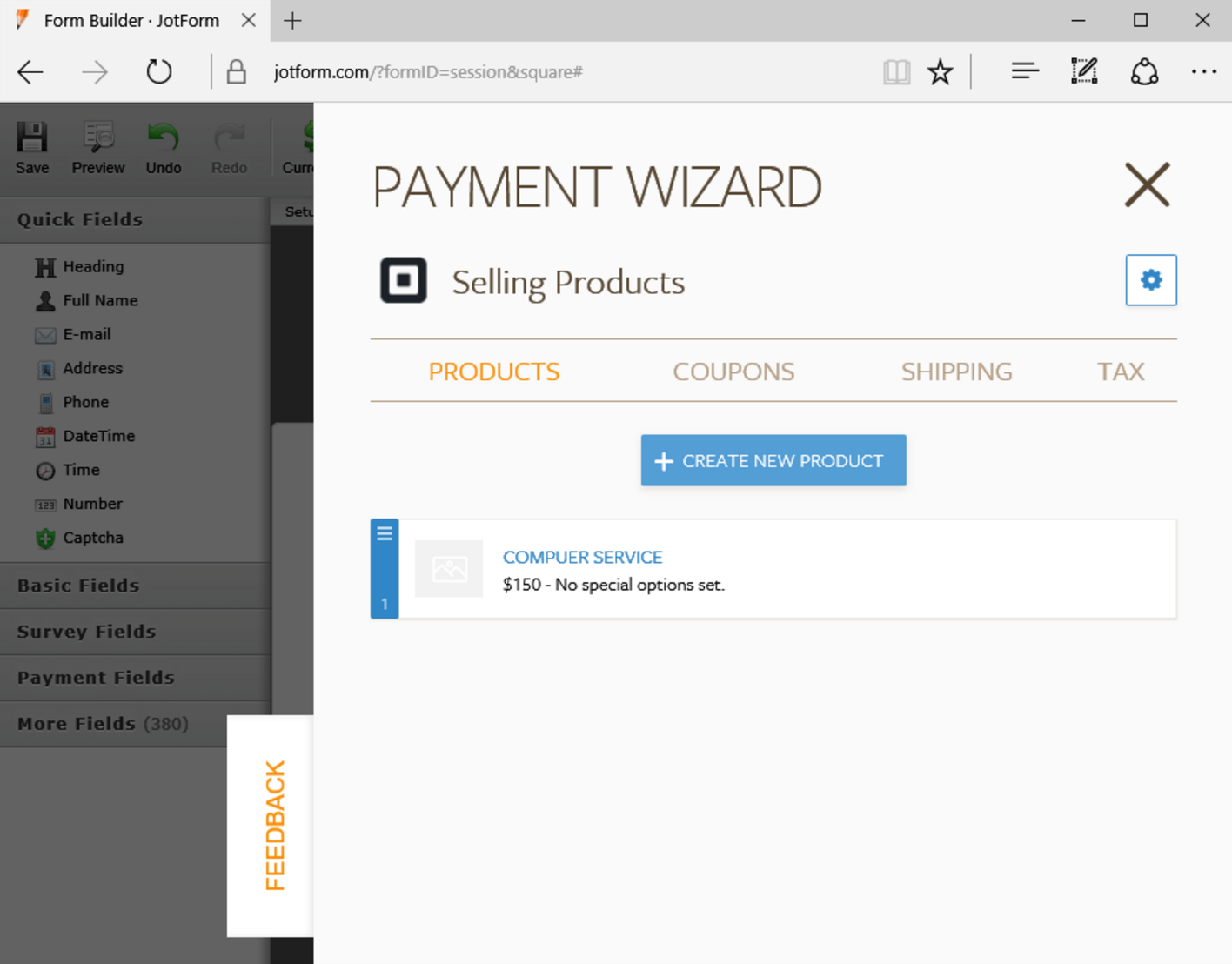add product details to square payment form